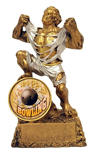 Bowling Monster Trophy / Bowler Hulk Award - Engraved Plates by Request - Perfect Bowling Award Trophy - Hand Painted Design - Made by Heavy Resin Casting - for Recognition - Two Cost Usps Delivery Day