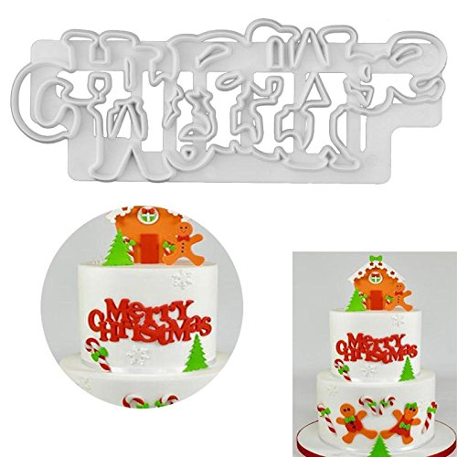 790dc4ecddaf 1 Piece Merry Christmas Plastic Cake Mold Biscuit Cookie Cutter Fondant  Cake Decorating Tools DIY Sugarcraft Baking Mould