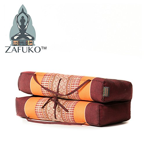 Zafuko Yoga, Meditation, Kundalini and Pilates Foldable Cushion (Zafu) for on-The-go Wide Long Block, Bolster, Floor Pillow, Prop - 100% Organic Kapok Fiber Filling - Large Size (Orange & Burgundy)