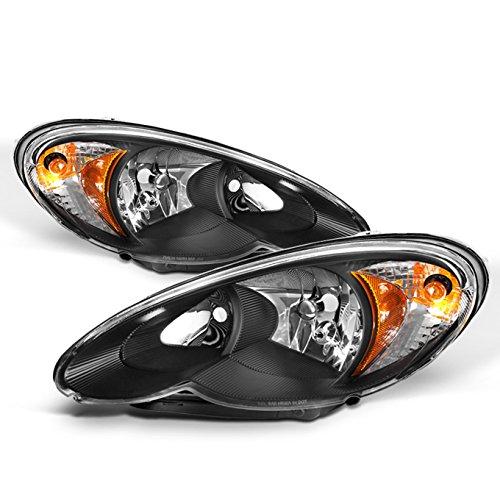 For Chrysler PT Cruiser OE Replacement Black Bezel Headlights Driver/Passenger Head Lamps Pair New ()