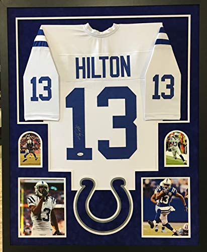 (TY Hilton Indianapolis Colts Autograph Signed Custom Framed Jersey White Suede Mat JSA Witnessed Certified)