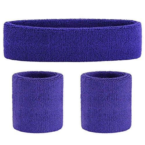 OnUpgo Purple Sweatband Set Sports Headband Wrist Striped Sweatbands Terry Cloth Wristband Athletic Exercise Basketball Wrist Sweatband and Headbands Moisture Wicking Sweat Absorbing Head -