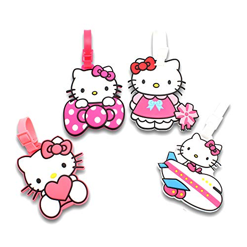 (Finex Set of 4 - Hello Kitty Travel Luggage ID Tag for Bags Suitcases with Adjustable Strap)