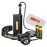NITECORE HC70 1000 Lumen LED Headlamp with External Battery Case plus 2 x 18650 2300mAh Rechargeable Batteries and Lumen Tactical Battery Organizer Bundle