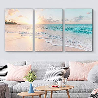 3 Piece Canvas Wall Art for Living Room Bedroom Home Artwork Paintings Romantic Beach Ready to Hang - 24