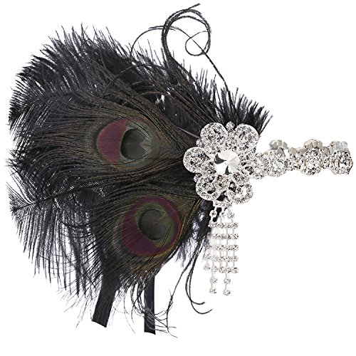 (BABEYOND Vintage 1920s Flapper Headband Roaring 20s Great Gatsby Headpiece with Peacock Feather 1920s Flapper Gatsby Hair Accessories)