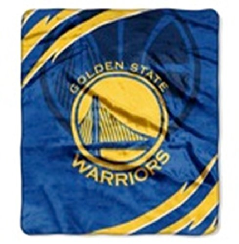 NBA Basketball Golden State Warriors Soft Royal Plush King Size Throw Blanket ()