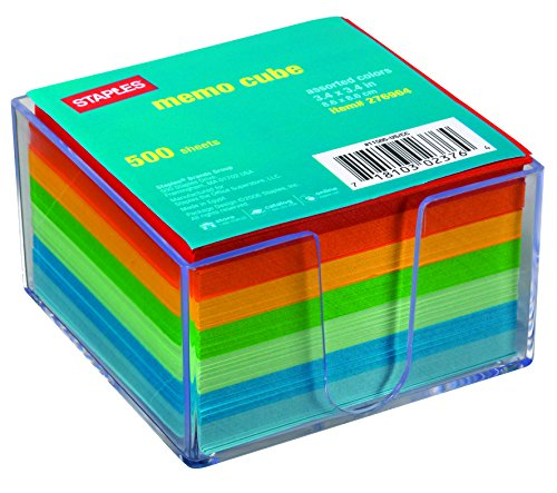 Staples® Assorted Colors Cube Memo Pad 500 Sheets