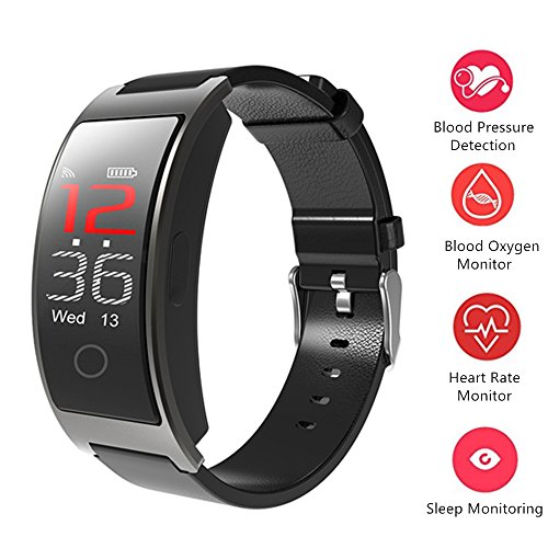 ssure Heart Rate SPO2 Monitor Wrist Watch Intelligent Bracelet Fitness Bracelet Tracker Pedometer Wristband for Android and iOS ()