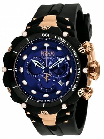 Invicta Mens 1525 Reserve Venom II Chronograph Blue Dial Black Polyurethane Watch