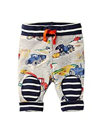 Baby Boys Cartoon Print Cotton Pants Drawstring Elastic Sweatpants