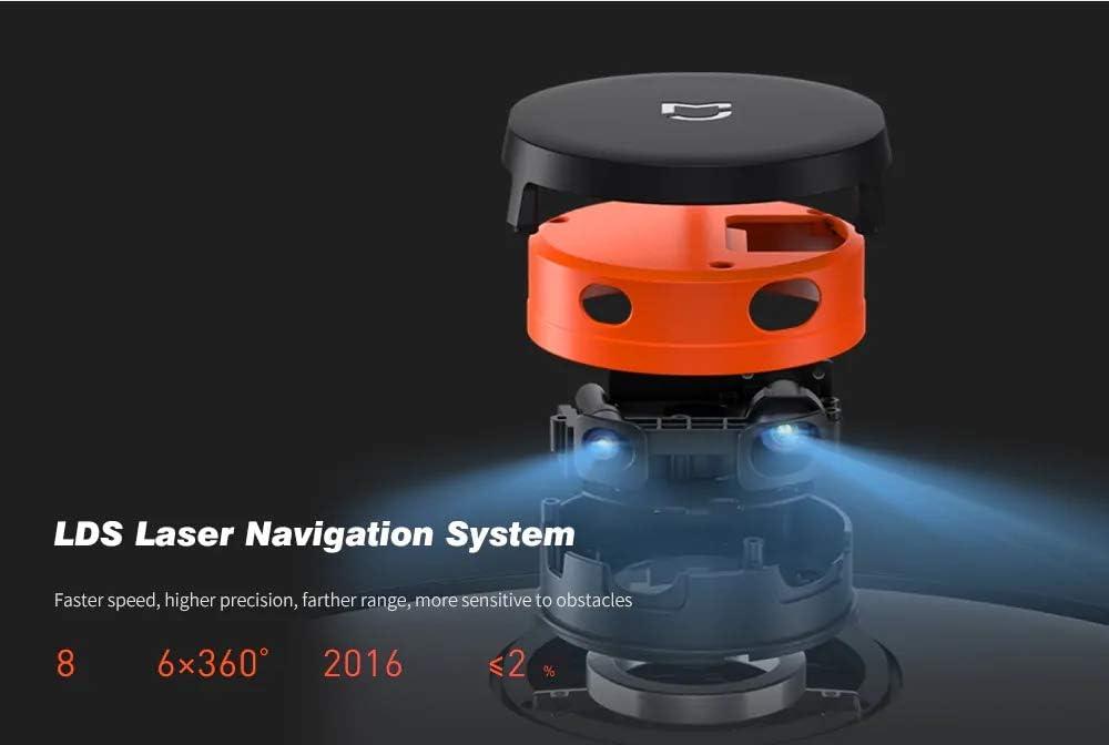 WUAZ Aspirateur Robot Balayer Mopping 2100Pa Aspiration Collecteur de poussière Mi Accueil Planification d\'itinéraire Propre sans Fil,Noir Black