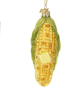 Kurt Adler Glass Ornament with S-Hook and Gift Box, Food Collection (Corn on The Cob)