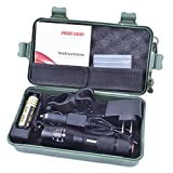 Vinjeely AAA Bright X800 LED Flashlight Torch Lamp Light Kit 5 Modes Portable Ultra Bright Adjustable Focus High Powered Adjustable Waterproof Skid-Proof Powerful Tactical Torch light Super Bright Suitable for Household Outdoor Activities Hiking Night Fishing Camping And Sailing