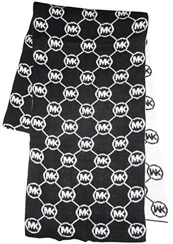 Michael Kors Small Circle Logo Knit Scarf, Black/White