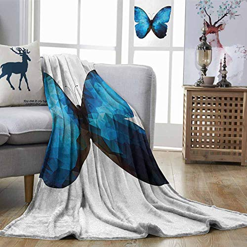 (Zmstroy Reversible Blanket Butterfly Modern Image of Insect Bug in Mosaic Ombre Colored Artwork Black Dark Blue and Baby Blue All Season Light Weight Living Room W70 xL93)