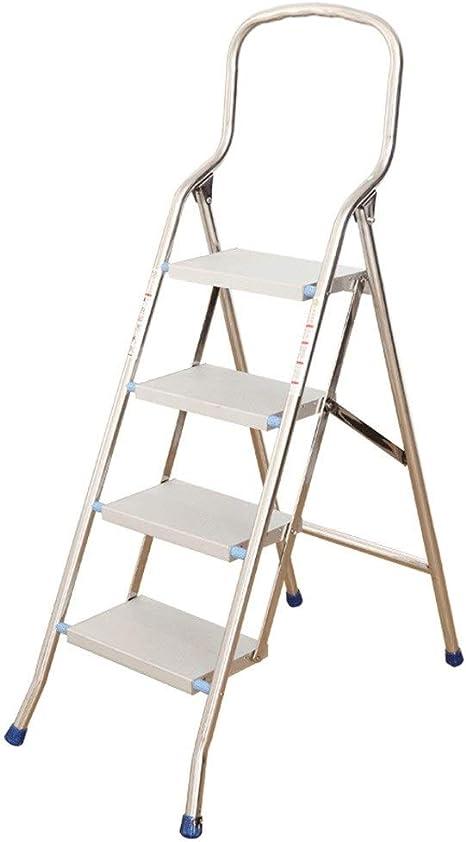 Gjrff Escalera plegable de 4 peldaños de aluminio, Escalera plegable for interiores/exteriores, Escalera antideslizante: Amazon.es: Bricolaje y herramientas