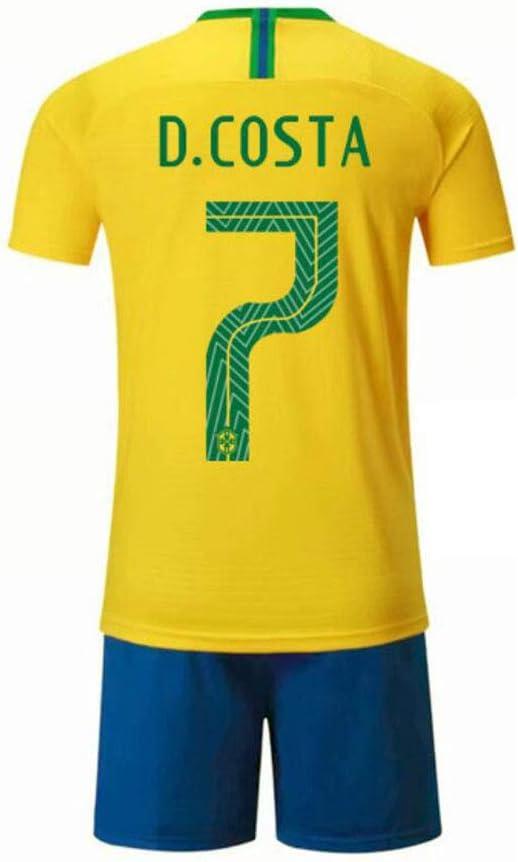 PAOFU-Squadra Nazionale di Calcio del Brasile Douglas Costa # 12 Set di Maglia da Calcio per Fan per Uomo