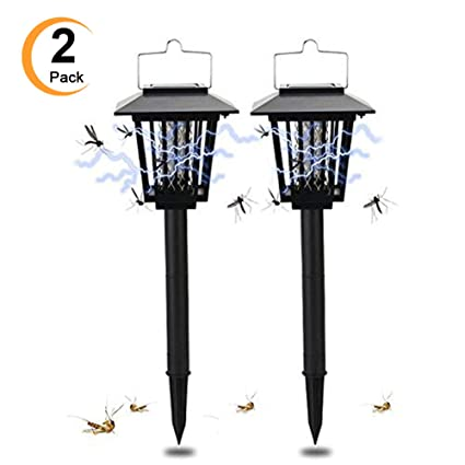 Amazon 2 Pack Solar Powered Outdoor Insect Killer Bug Zapper