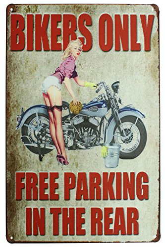 Sumik Bikers Only Free Parking in The Rear Motorcycle Girl, Metal Tin Sign, Vintage Art Poster Plaque Garage Home Wall Decor