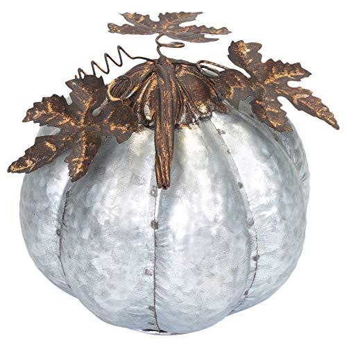 Harvest Pumpkin Hammered Rustic Silvertone 6.5 x 7 Inch