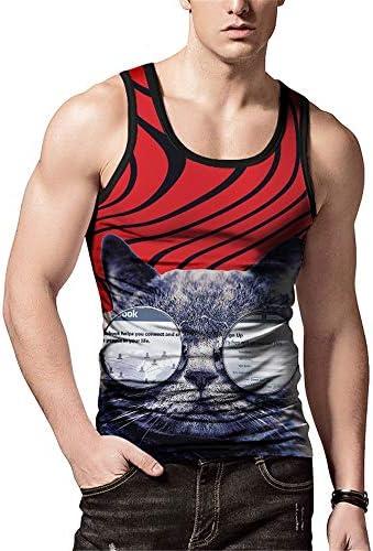 タンクトップ メンズ メンズ夏の3Dグラフィックベストストリートファッションカジュアルホリデービーチパーティールースノースリーブシャツ 夏 スポーツ フィットネス (色 : C1, Size : L)