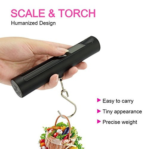 Global-store Digital Portable Luggage Scale Suitcase Scale Travel Scale 40kg/10g with 8 LED Flashlight Torch Handing Hook Weighing Scale with Tare for Traveling
