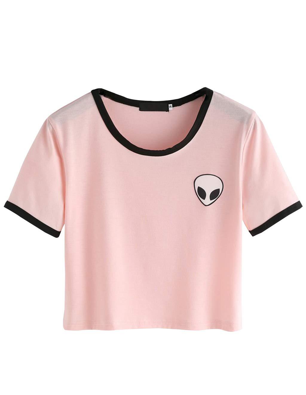 Women Teen Girls Cute Alien Print Crop Top Tie up Knot Belly Shirt Summer Tee T-Shirt Blouse Sale (Pink 01, S)
