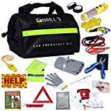 BRILL'S SMART SOLUTIONS Car Emergency Roadside Tool Kit- Auto Assistance kit Includes: First Aid kit, Warning Triangle, Jumper Cable, SOS Flashlight with Hummer, Warming Bags, Blanket and More.