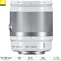 Nikon 1 NIKKOR 10-100mm f/4.0-5.6 VR Lens, White (3327B) - (Certified Refurbished)