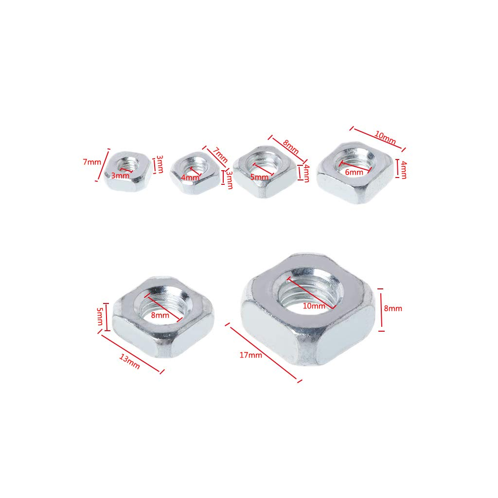 jiulonerst-50pcs//set GB39 Stainless Steel Square Nuts Metric Threaded Foursquare Quadrate M3 M4 M5 M6 M8 M10 6 Options#1