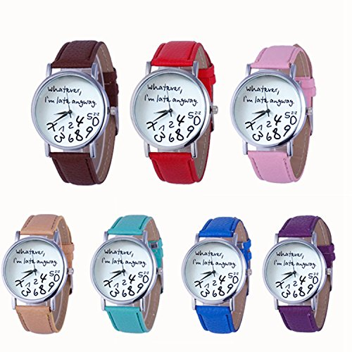 Womens Quartz Watches with Worlds,COOKI Unique Analog Fashion Clearance Lady Watches Female watches on Sale Casual Wrist Watches for Women,Round Dial Case Comfortable PU Leather Watch-H31