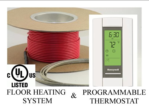 25 Sqft Cable, Warming Systems 120 V Electric Tile Radiant Floor Heating Cable with Programmable Thermostat by Warming Systems