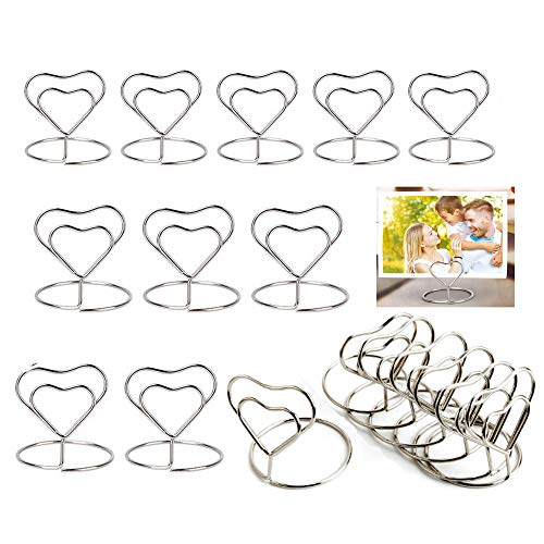 Dproptel 20 Pack Heart Shaped Mini Place Card Holders Table Number Stand Table Card Holder Wire Table Picture Photo Holder Memo Clips for Wedding Birthday Party Favors