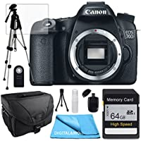 Canon EOS 70D Body, 64GB SD SDHC Class 10 Memory Card, Tale Top Tripod, Camera Case, USB Card Reader, Table Top Tripod, Lens Cleaning Kit and LCD Screen Protectors
