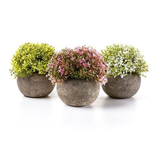 T4U Artificial Plastic Plants with Pots Mini Size for Home Office Wedding Decoration Spring Color Pack of ()
