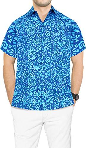 (LA LEELA Men's Relaxed Tropical Hawaiian Shirt Casual Button Down S Blue_Aa168)