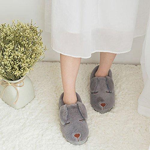 Giy Dames Dames Winter Slippers Leuke Cartoon Hond Indoor Paar Slippers Pluche Gezellige Antislip Huis Slippers Grijs