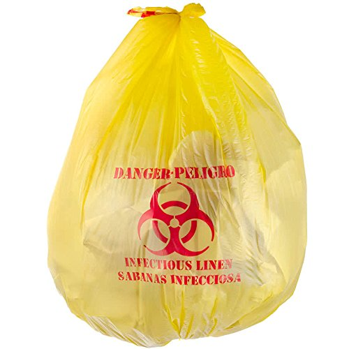 "TableTop King 44 Gallon 37"" X 50"" Yellow Infectious Linen High Density Isolation Medical Waste Bag / Biohazard Bag 17 Microns - 200/Case"
