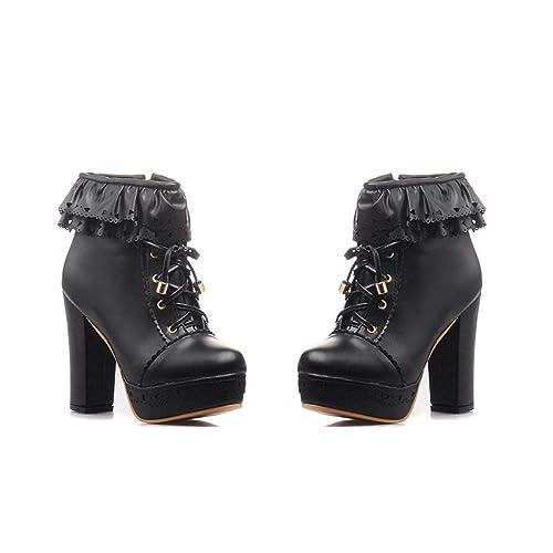 050dfdc35da ZX Boots Womens Office Party Sweet Lolita Platform Chunky High Heel ...