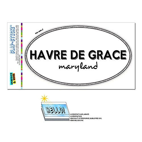 Graphics and More Euro Oval Window Bumper Laminated Sticker Maryland MD City State for - Par - Havre De Grace