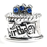 Sterling Silver Birthday Cake Blue Simulated September Birthstone Round European Bead Charm