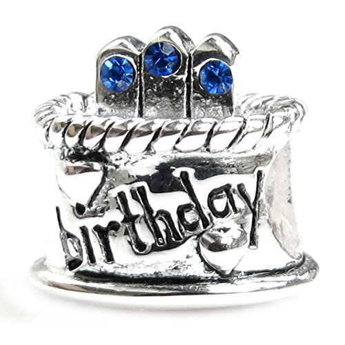 Sterling Silver Birthday Cake Blue Simulated September Birthstone Round European Bead Charm by Queenberry