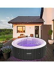 Arebos Whirlpool met LED-verlichting   6 kleuren   opblaasbaar   rond   binnen en buiten   4 personen   130 massagejets   met verwarming   1.000 liter   incl. afdekking   Bubble Spa & Wellness Massage