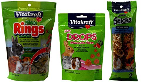 - Vitakraft Small Animal Treats 3 Flavor Variety Bundle (1) Each: Nibble Rings, Star Watermelon Drops, Variety Pack Wild Berry Honey Sticks (3-10.6 Ounces)