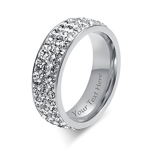 VNOX Free Engraving-7mm Width Women Stainless Steel Eternity Ring CZ Cubic Zirconia Circle Round,Size 7 by VNOX