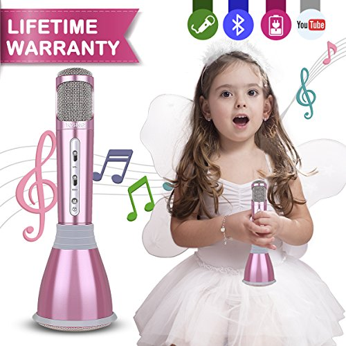 Microphone Kids,Upgraded Karaoke Microphones Portable Hand Cordless Mic with Bluetooth Speaker Toy Microphone for Boy Girl Family KTV Party Music Singing Playing Support Android iOS iPhone iPad TV PC