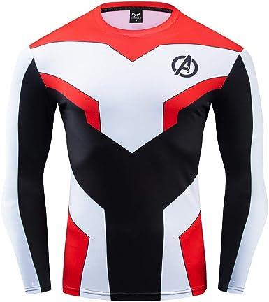 COJETER Super Heroes Fitness Workout Sport Gym Camisa de compresión de manga larga para hombres