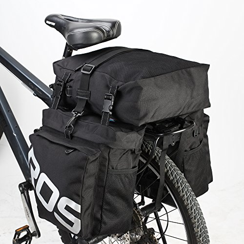 Little-Tomato Bike Pannier Bag Bicycle Rear Rack Bag Waterproof, 3 in 1 Rear Seat Bicycle Saddle Bag Multifuction Bicycle Expedition Touring Cam Pannier (Black)