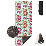 GVSOJA 70-Inch Long 28-Inch Wide Comfort Velvet Yoga Mat, Lake Grass Flower Mat Carrying Strap & Bag